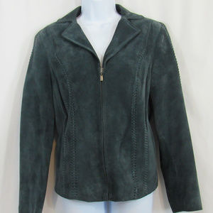 Preston & York Green Leather / Suede Jacket Size M